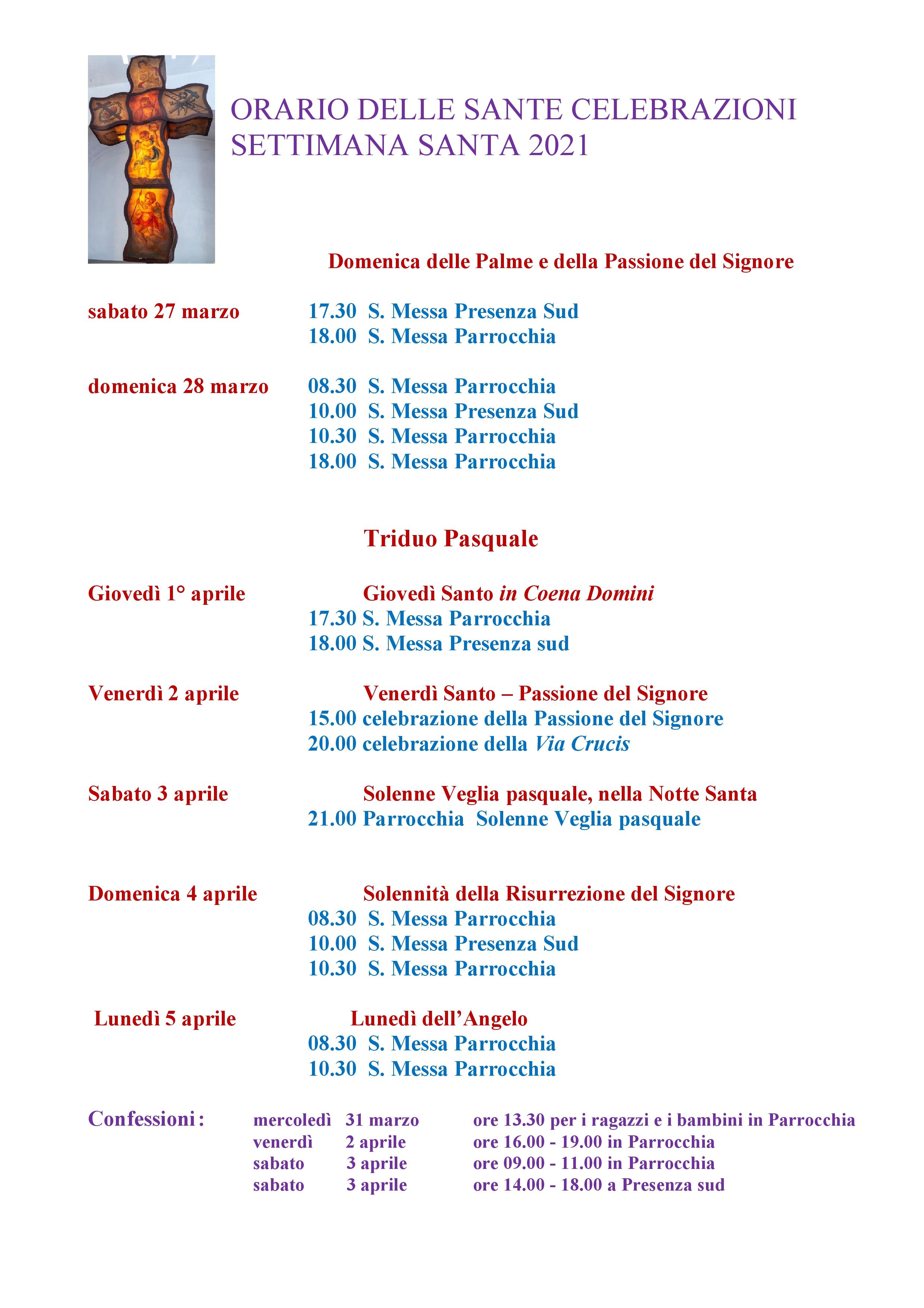 ORARIO DELLE SANTE CELEBRAZIONI Pasqua
